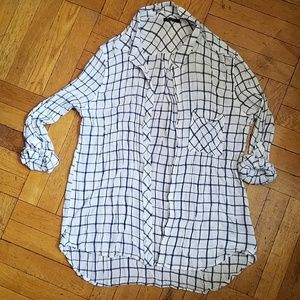 Max Jeans white blue checkered shirt long sleeve